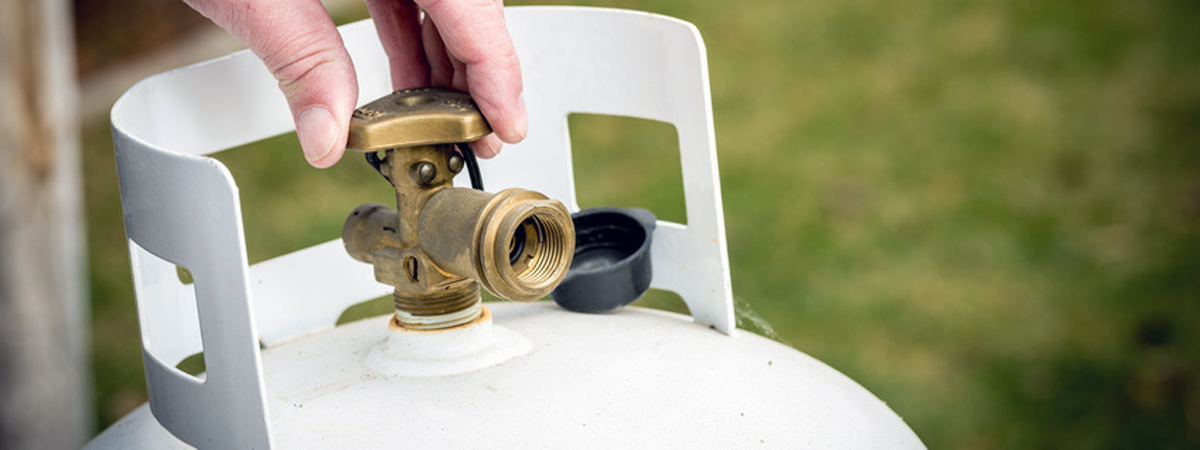Brass Valve closed on a propane tank